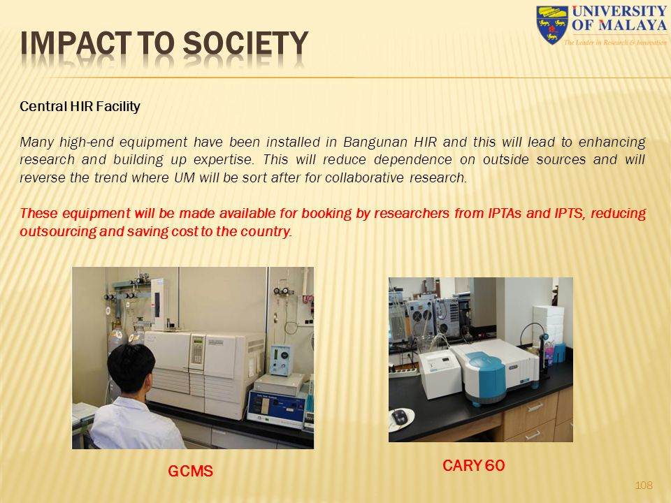 IMPACT TO SOCIETY CARY 60 GCMS Central HIR Facility