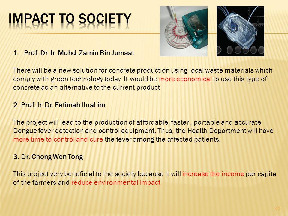 IMPACT TO SOCIETY Prof. Dr. Ir. Mohd. Zamin Bin Jumaat