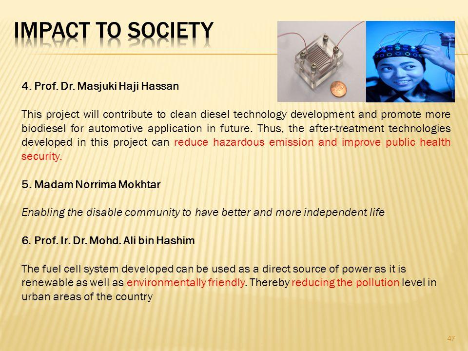 IMPACT TO SOCIETY 4. Prof. Dr. Masjuki Haji Hassan