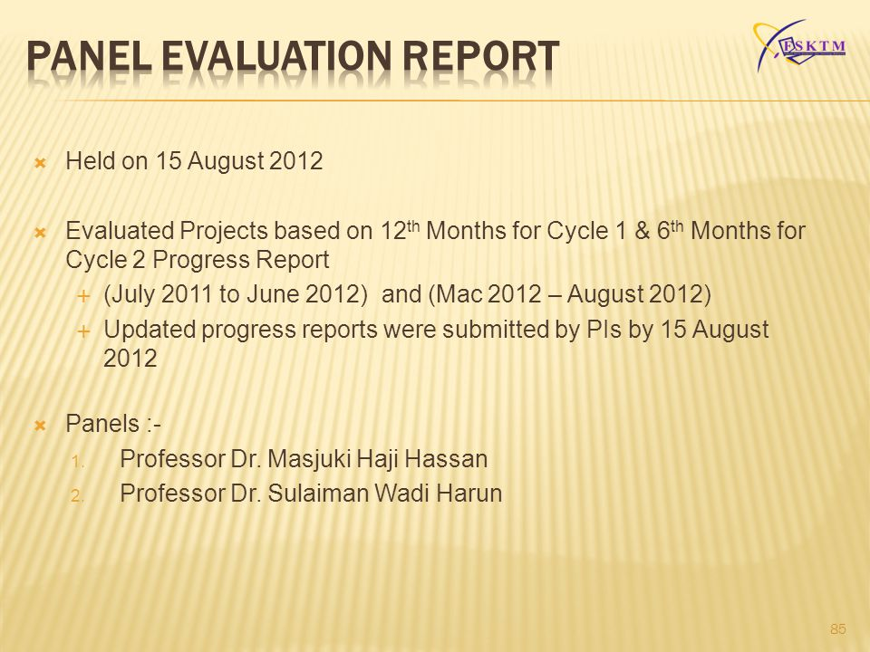PANEL EVALUATION REPORT