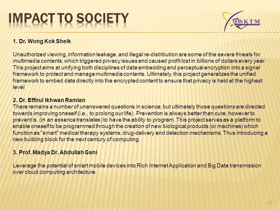 IMPACT TO SOCIETY 1. Dr. Wong Kok Sheik