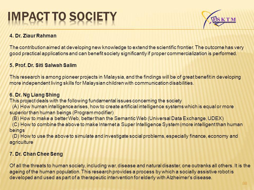 IMPACT TO SOCIETY 4. Dr. Ziaur Rahman