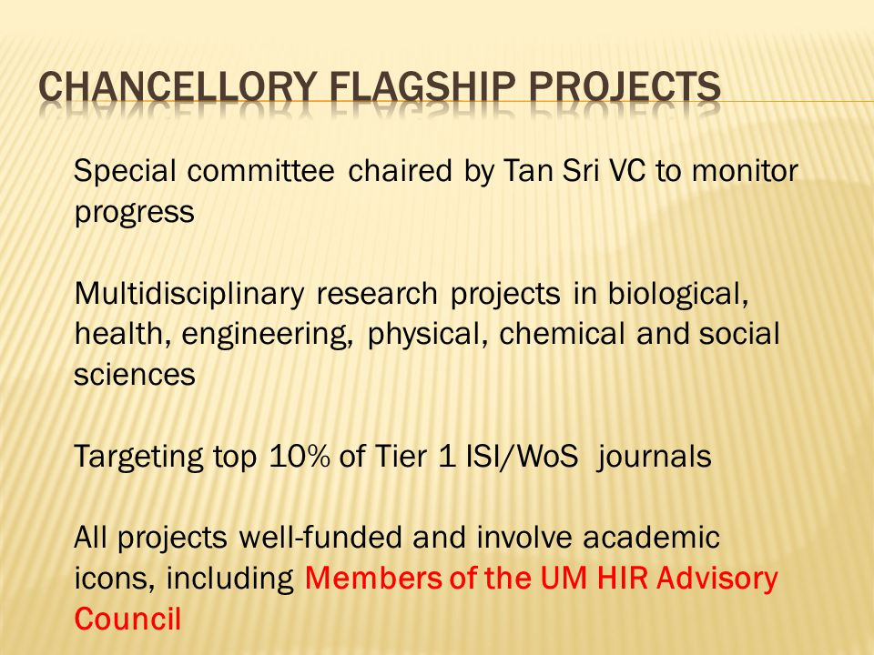 Chancellory Flagship projects