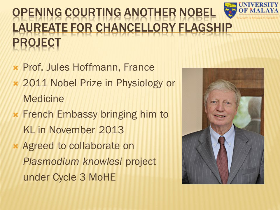 OPENING COURTING ANOTHER NOBEL LAUREATE FOR CHANCELLORY FLAGSHIP PROJECT
