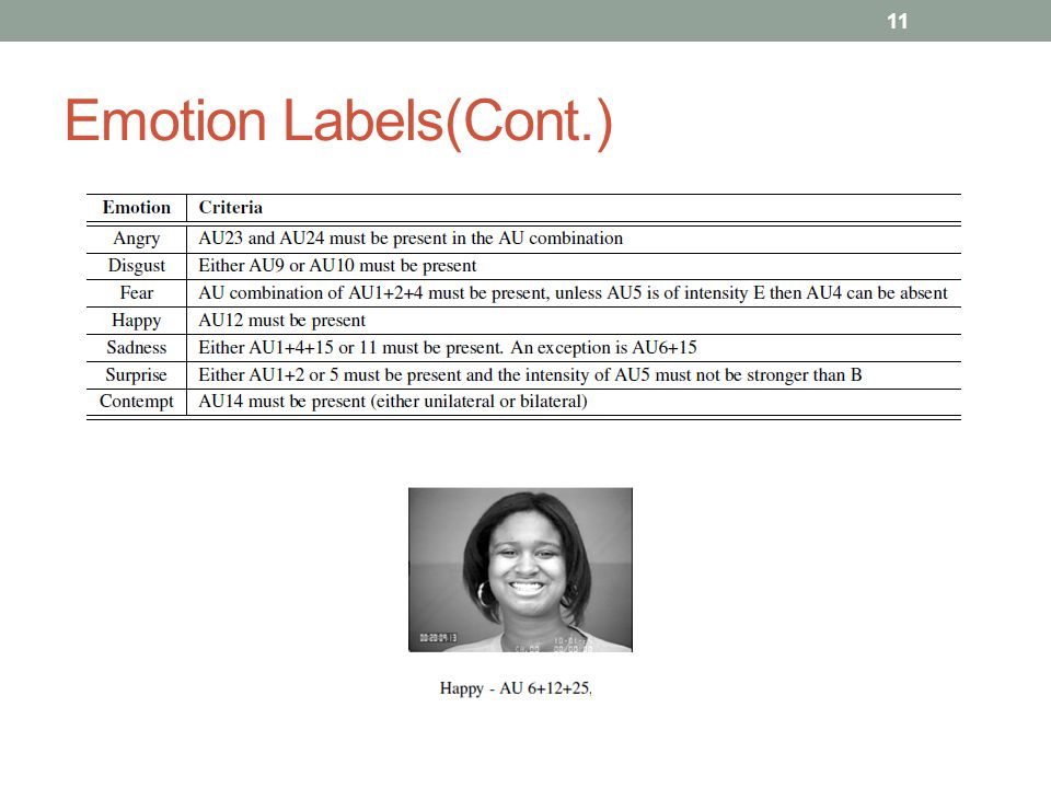 Emotion Labels(Cont.)