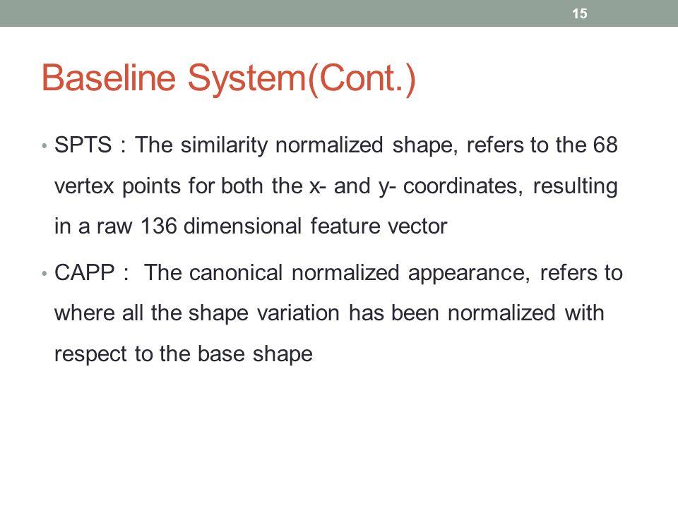 Baseline System(Cont.)