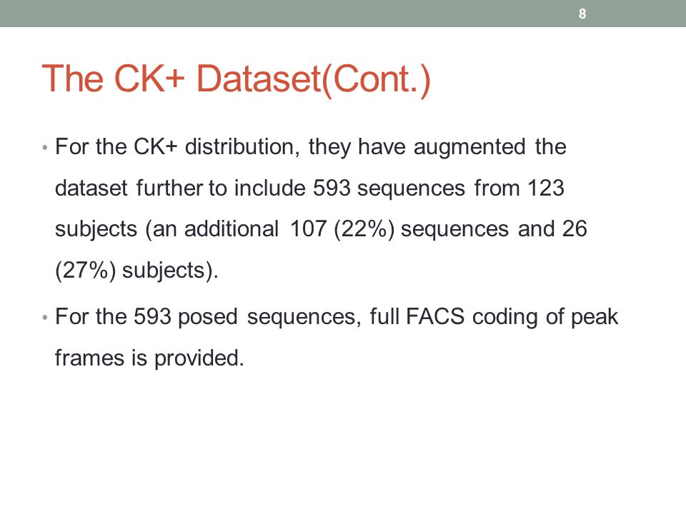 The CK+ Dataset(Cont.)