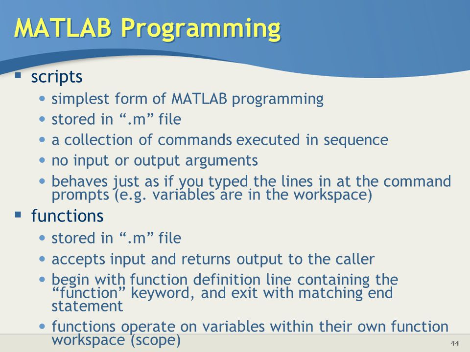 MATLAB Programming scripts functions