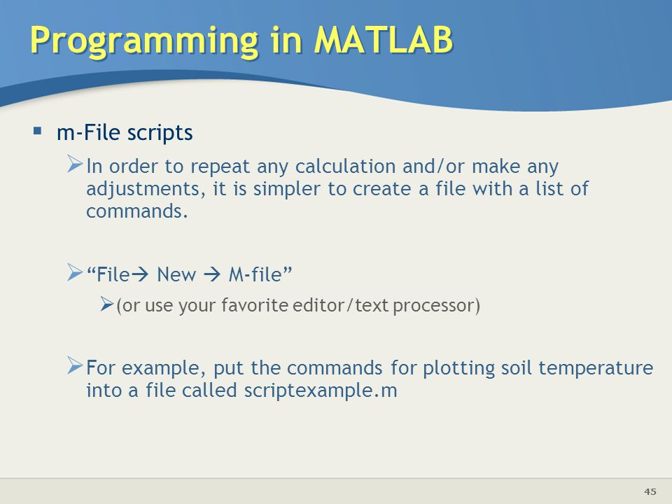 Programming in MATLAB m-File scripts