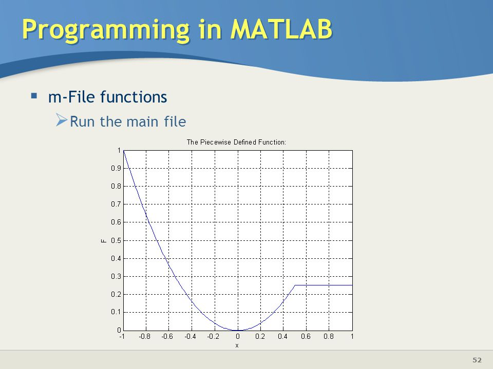 Programming in MATLAB m-File functions Run the main file
