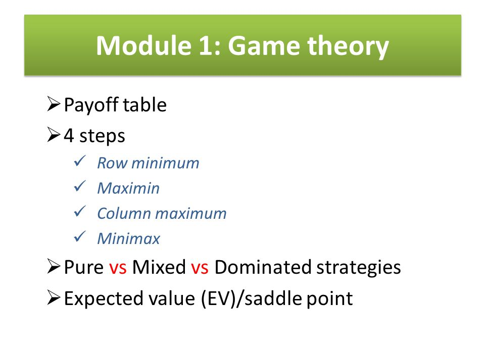 Module 1: Game theory Payoff table 4 steps