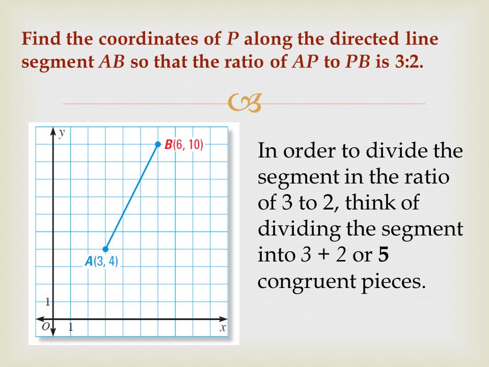 Find the coordinates of P along the directed line segment AB so that the ratio of AP to PB is 3:2.