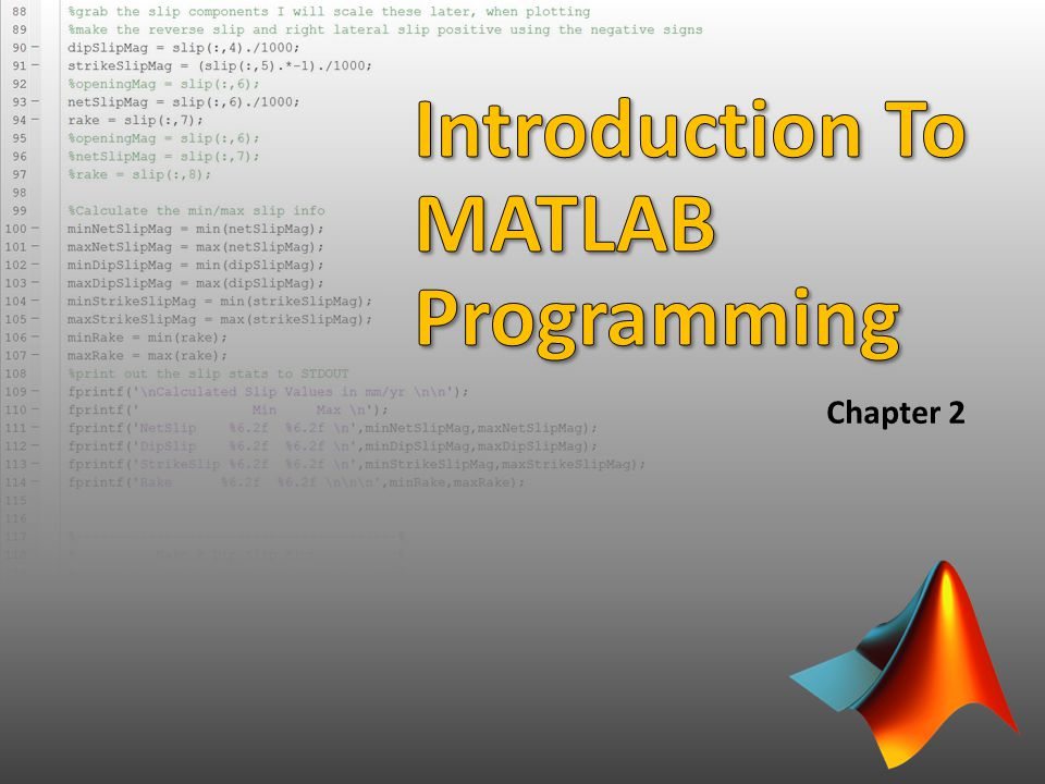 Introduction To MATLAB Programming