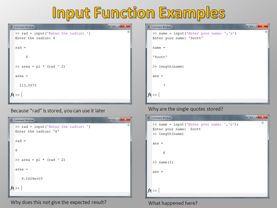 Input Function Examples