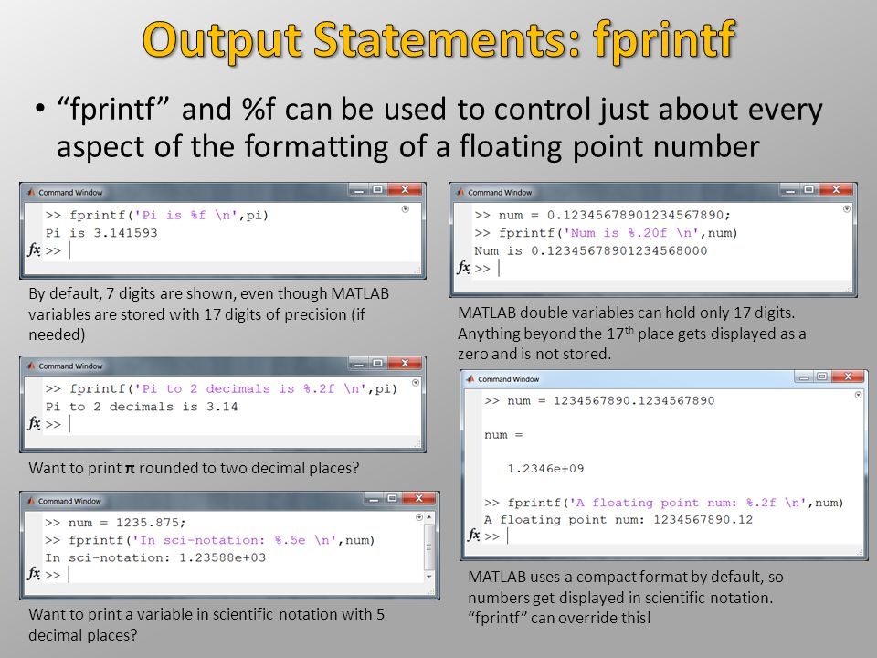 Output Statements: fprintf