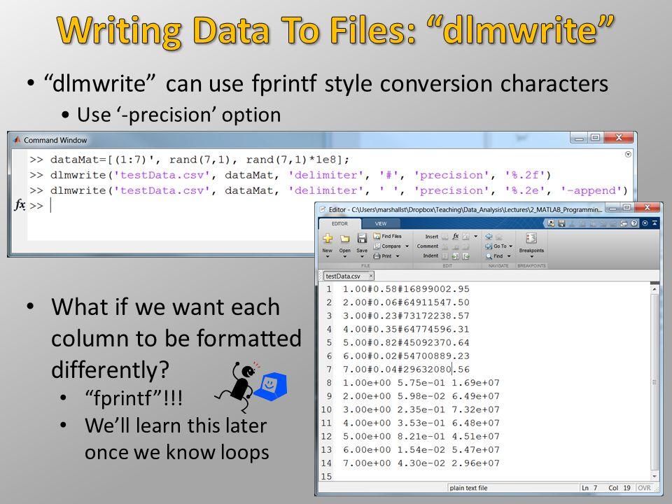 Writing Data To Files: dlmwrite
