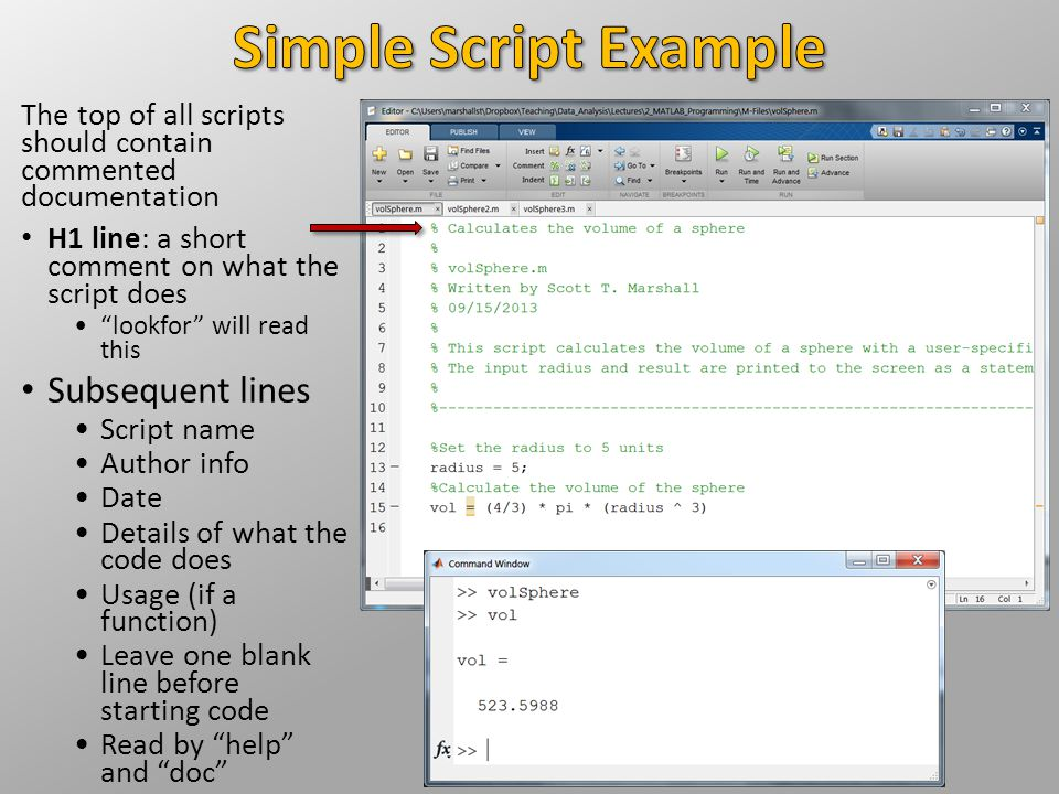 Simple Script Example Subsequent lines