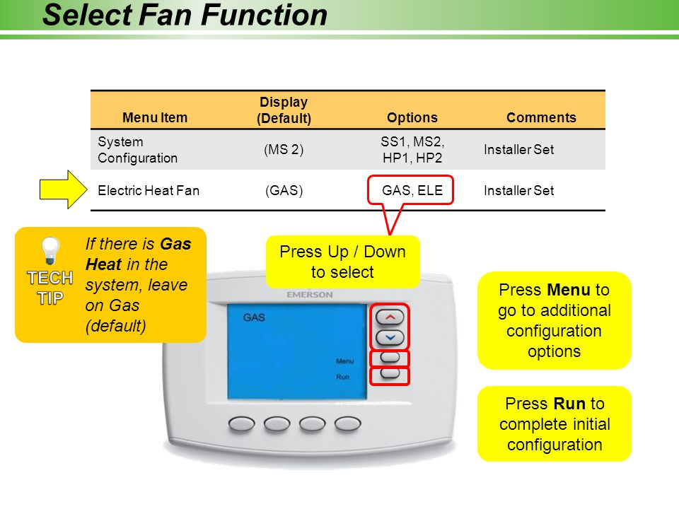Select Fan Function Menu Item. Display. (Default) Options. Comments. System Configuration. (MS 2)