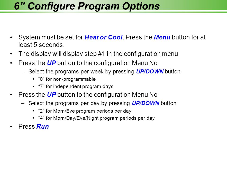 6 Configure Program Options