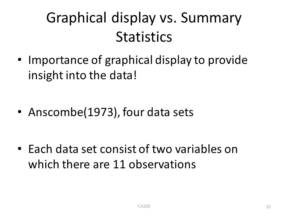 Graphical display vs. Summary Statistics