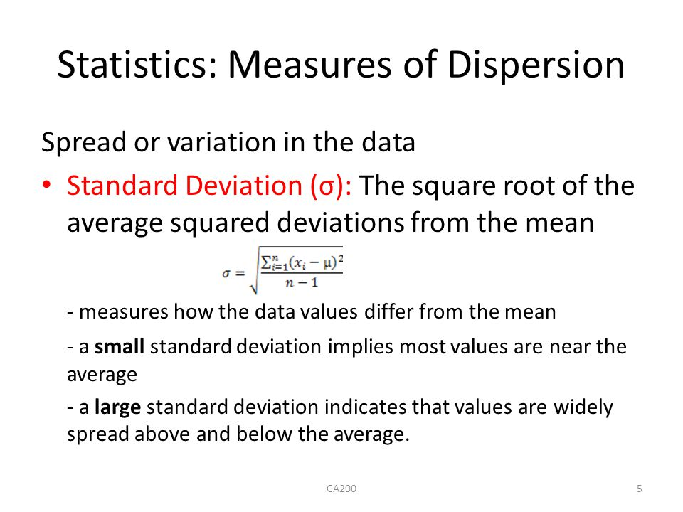 Statistics: Measures of Dispersion