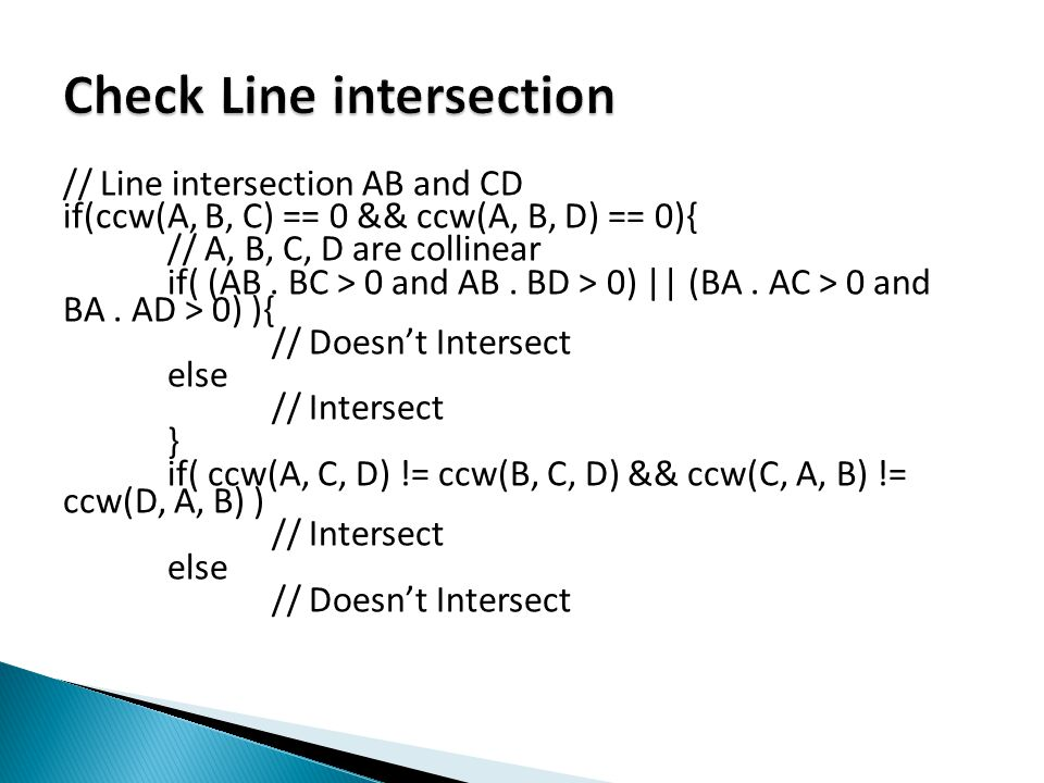 Check Line intersection