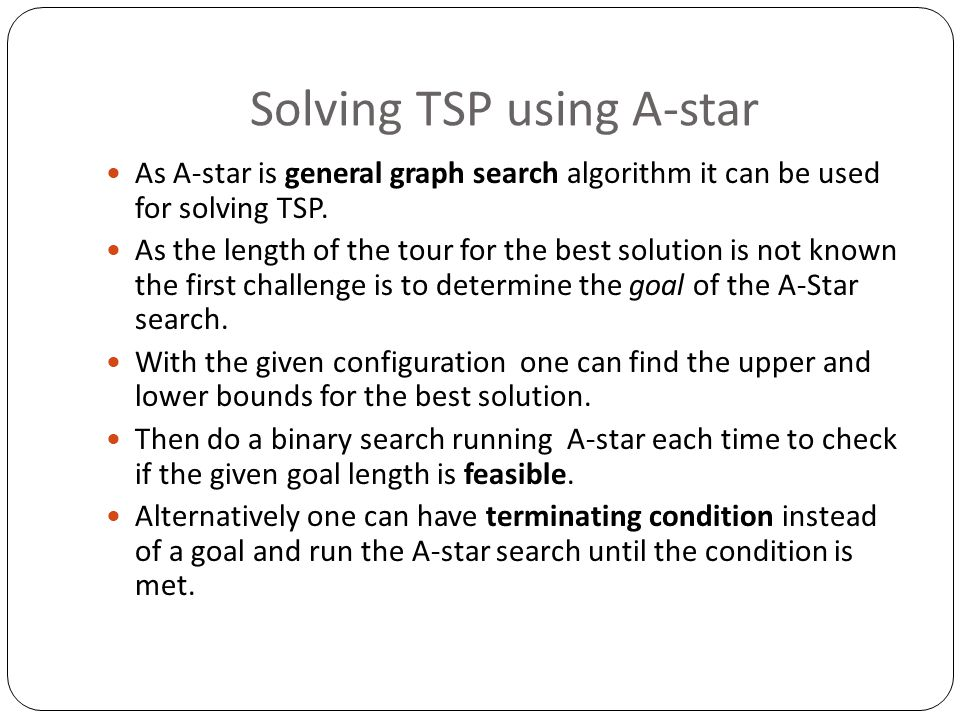 Solving TSP using A-star