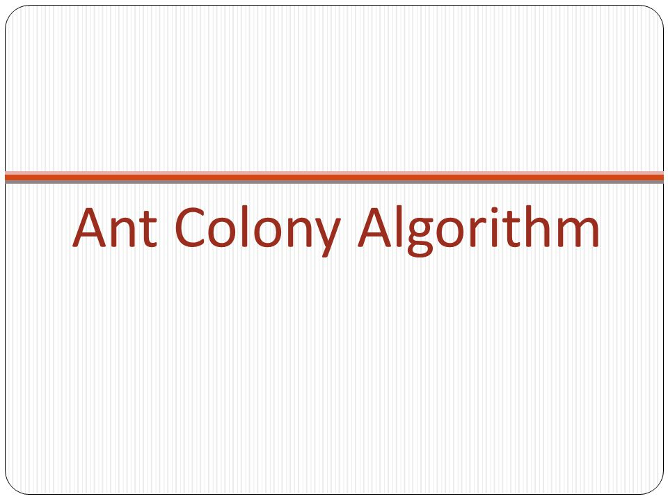 Ant Colony Algorithm
