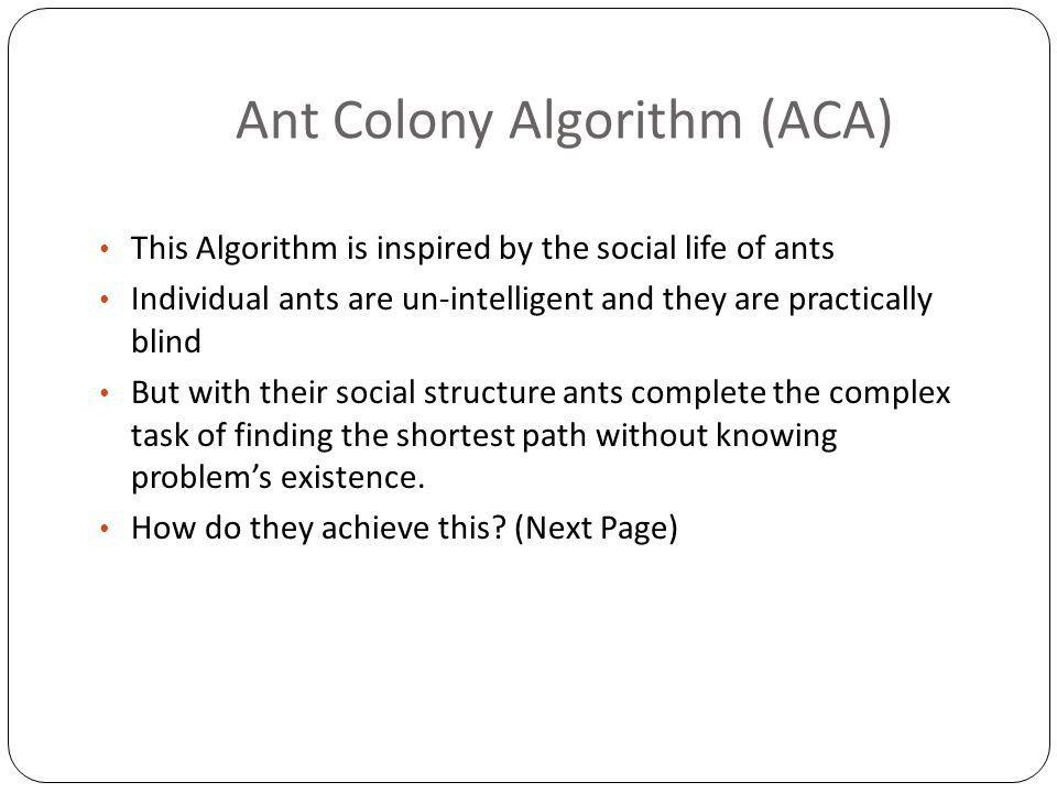 Ant Colony Algorithm (ACA)