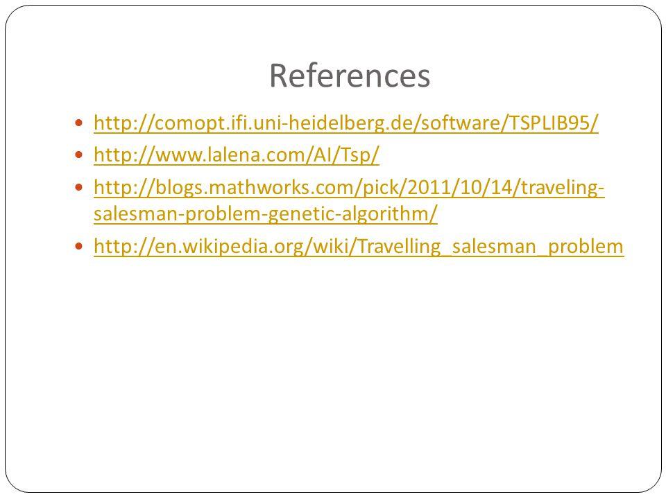 References http://comopt.ifi.uni-heidelberg.de/software/TSPLIB95/