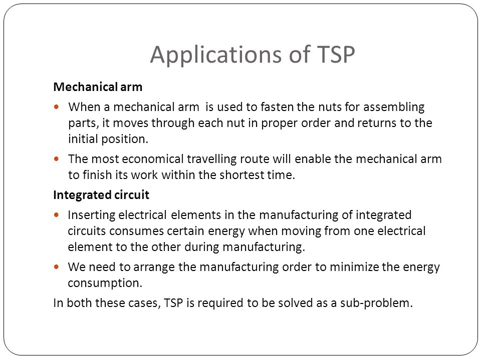 Applications of TSP Mechanical arm