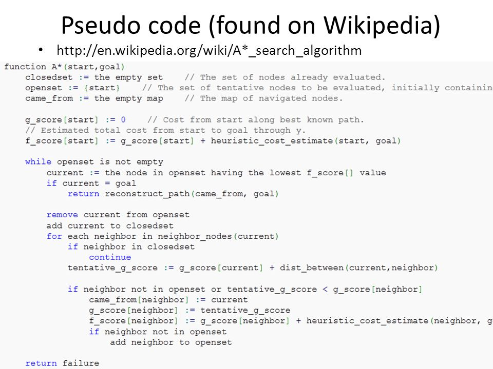 Pseudo code (found on Wikipedia)