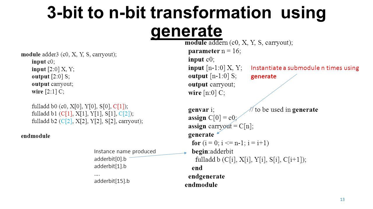 3-bit to n-bit transformation using generate