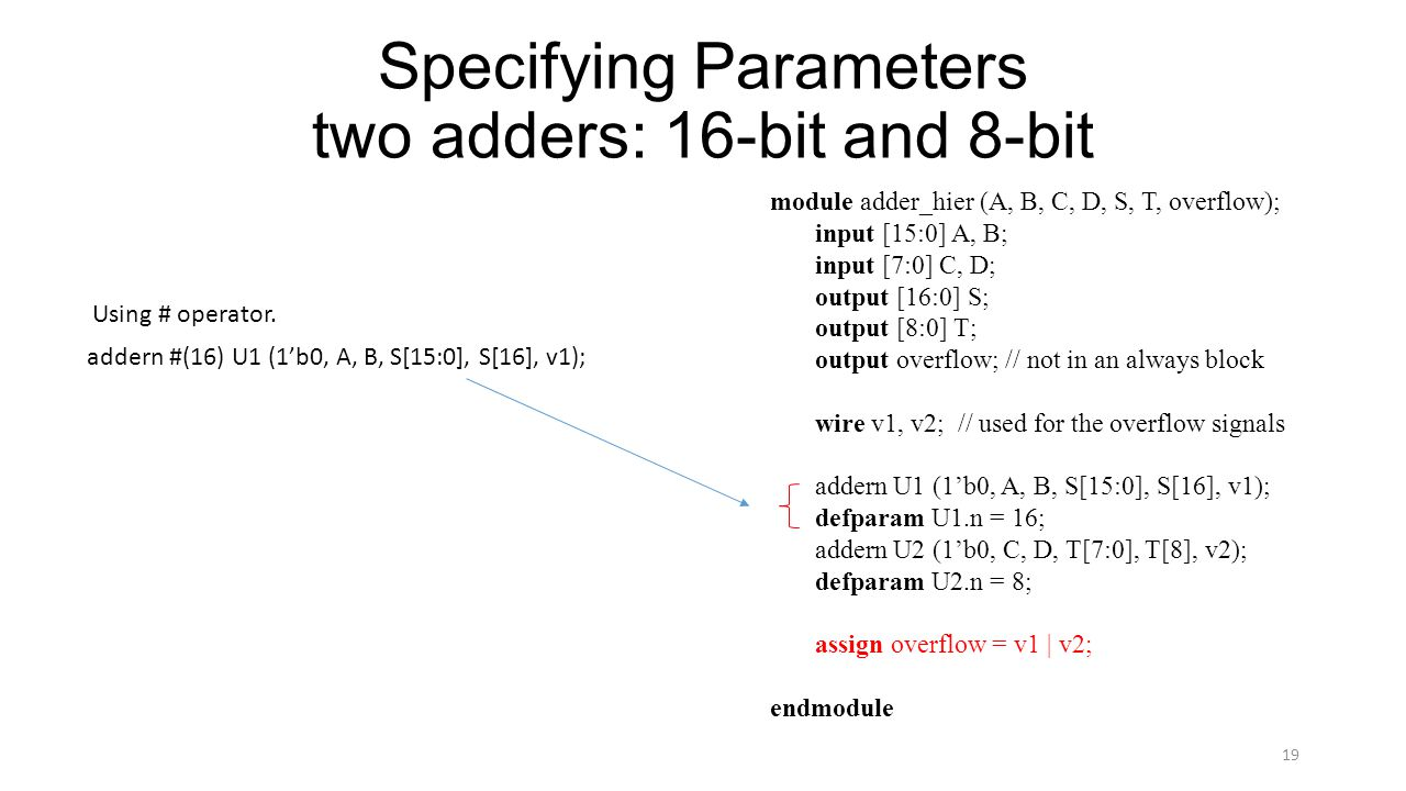 Specifying Parameters two adders: 16-bit and 8-bit