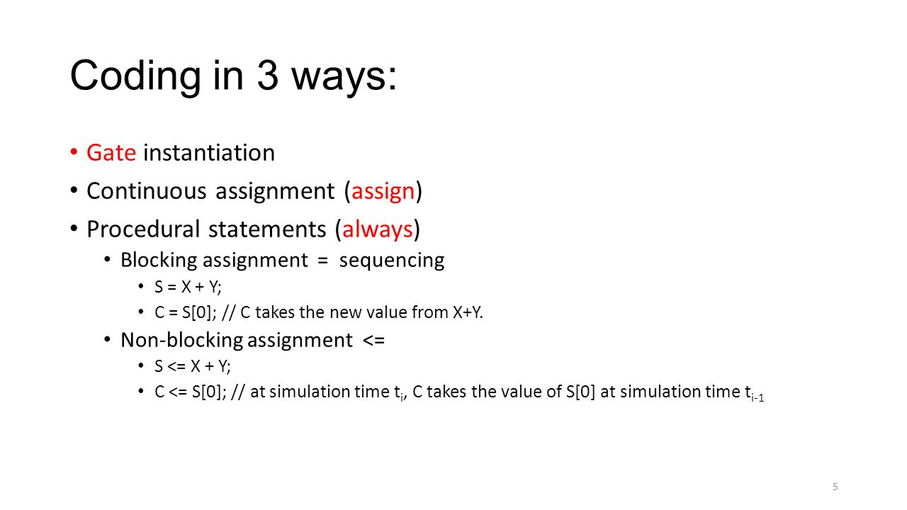 Coding in 3 ways: Gate instantiation Continuous assignment (assign)
