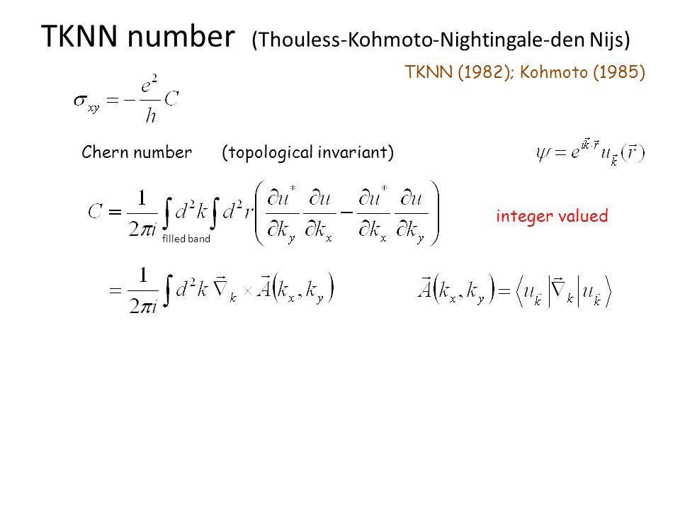 TKNN number (Thouless-Kohmoto-Nightingale-den Nijs)
