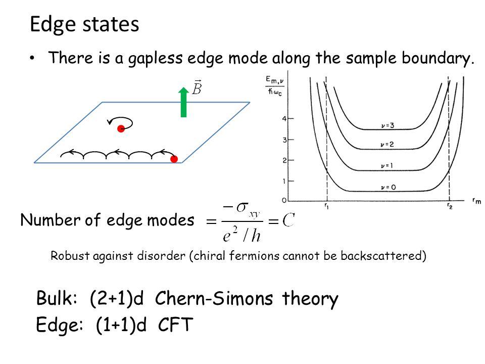 Edge states Bulk: (2+1)d Chern-Simons theory Edge: (1+1)d CFT