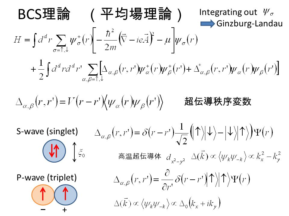 BCS理論 (平均場理論) Integrating out Ginzburg-Landau 超伝導秩序変数 S-wave (singlet)