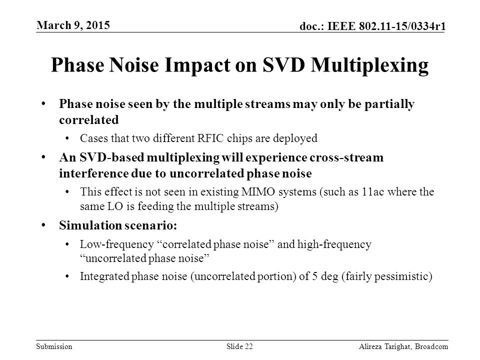 Phase Noise Impact on SVD Multiplexing