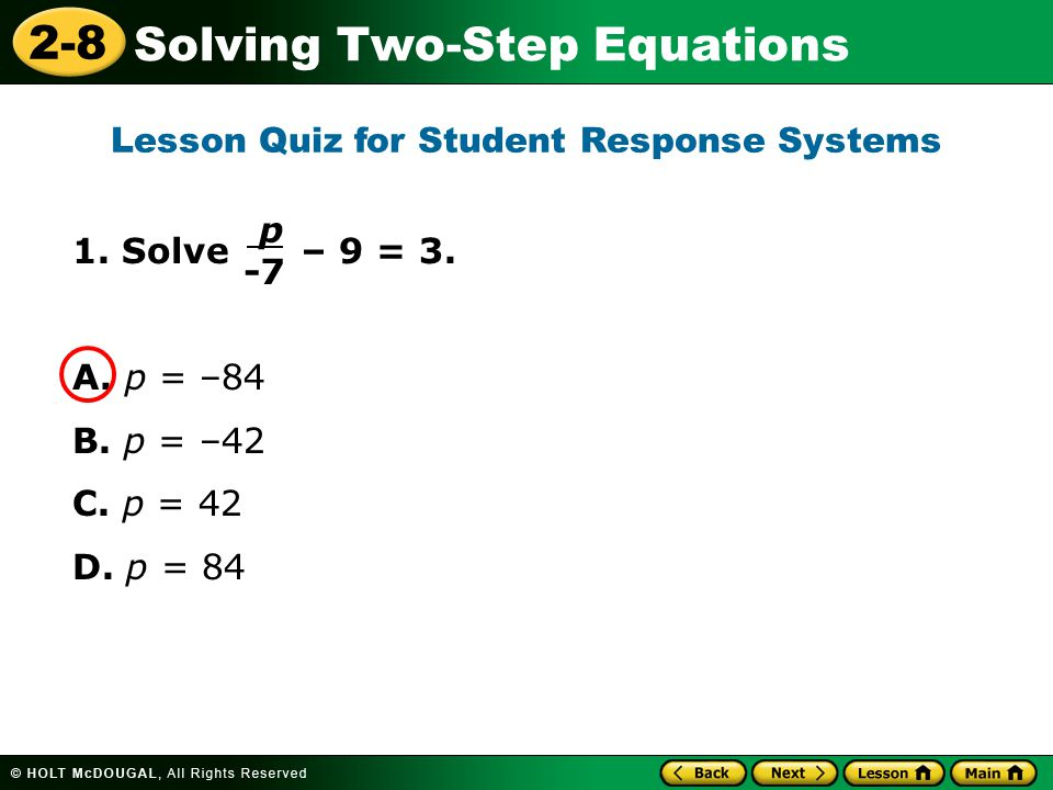 Lesson Quiz for Student Response Systems