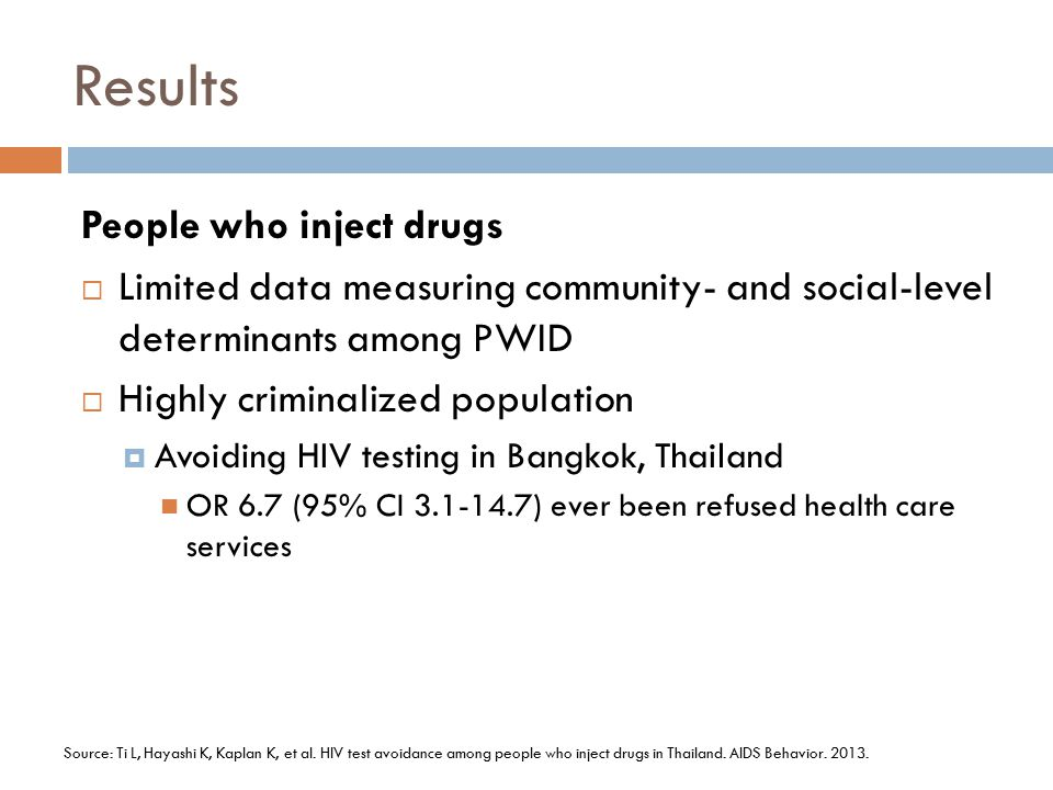 Results People who inject drugs
