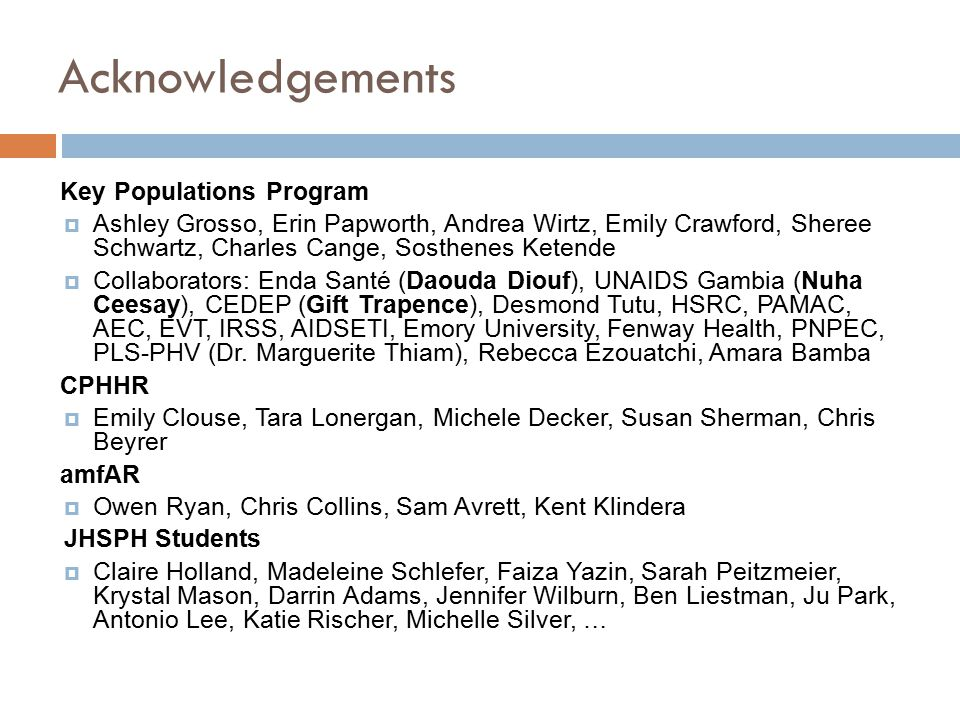 Acknowledgements Key Populations Program