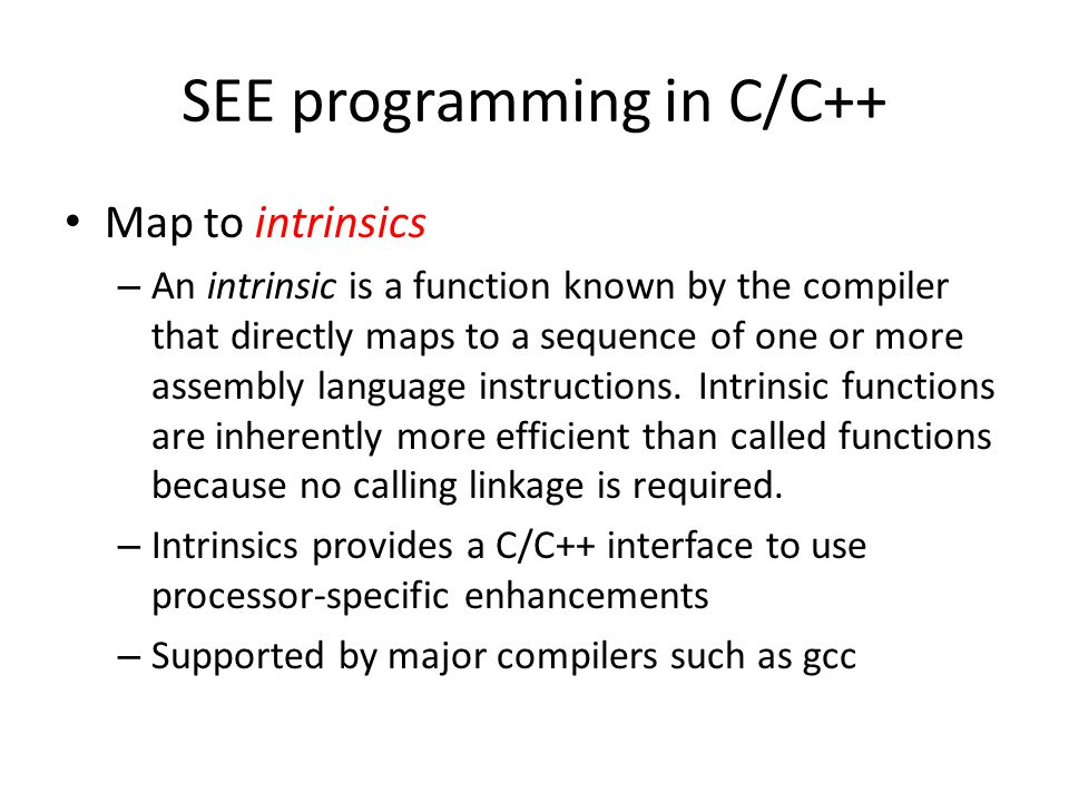 SEE programming in C/C++
