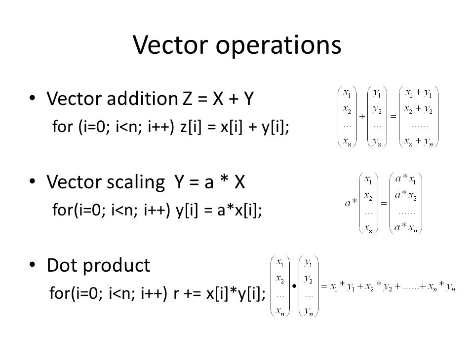 Vector operations Vector addition Z = X + Y Vector scaling Y = a * X