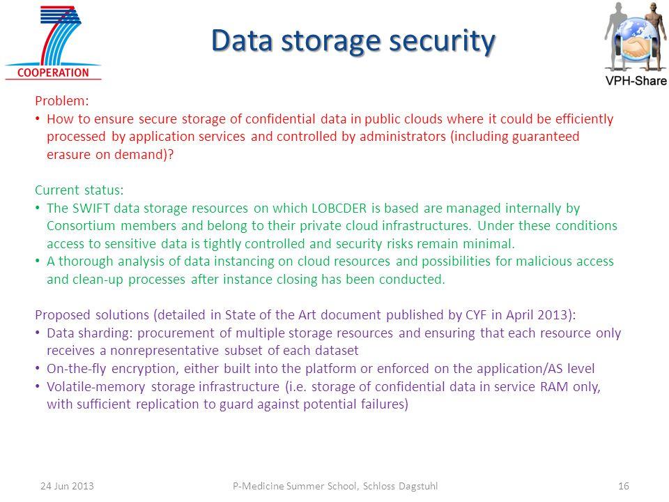 Data storage security Problem: