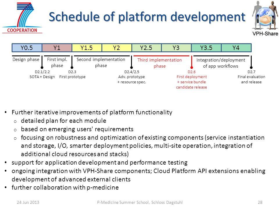 Schedule of platform development