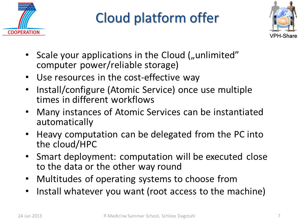 "Cloud platform offer Scale your applications in the Cloud (""unlimited computer power/reliable storage)"