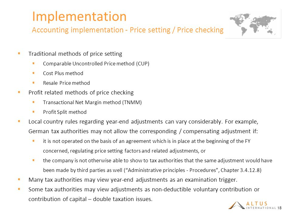 Implementation Accounting implementation - Price setting / Price checking (1/4)