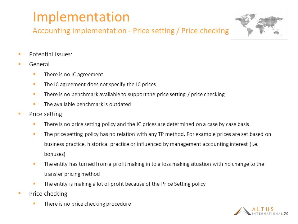 Implementation Accounting implementation - Price setting / Price checking