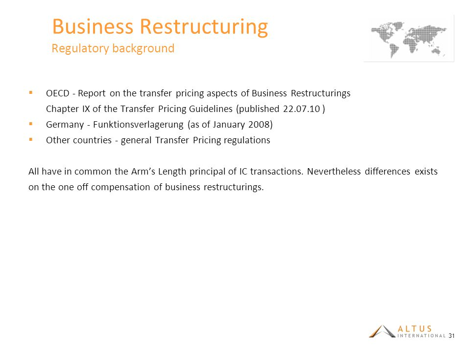 Business Restructuring Regulatory background